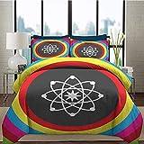 Juego de funda nórdica para ropa de cama Juegos de ropa de cama para la universidad de ciencias Modelo átomo con círculos de colores Molécula Química Biología Laboratorio de física Órbita Estampado de