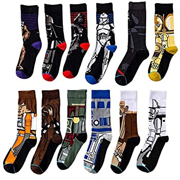 ASWER Men s 12 Pairs Star Wars Sport Cotton Socks Athletic Casual Crew Socks Color#14