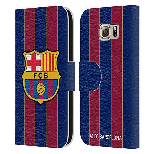Head Case Designs Oficial FC Barcelona Casa 2020/21 Kit de Cresta Carcasa de Cuero Tipo Libro Compatible con Samsung Galaxy S6