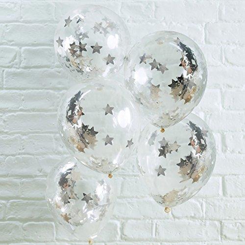 Ballonnen/luchtballonnen transparant met zilveren ster confetti in ballon - inhoud 5 stuks - Kerstmis verjaardag party viering bruiloft