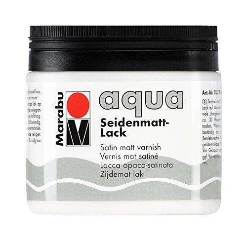 Marabu 11370075000 - Farbloser aqua Seidenmattlack, transparent - seidenmatter Acryl - Lack auf Wasserbasis, für Hobby und Freizeit, zum Lackieren vieler Bastelarbeiten und Materialien, 500 ml Dose