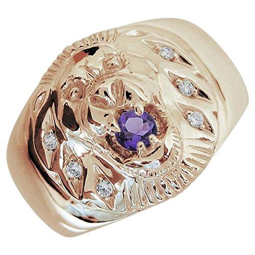 [プレジュール]ライオン アメジスト メンズ K18ピンクゴールド 指輪 アニマルリング リングサイズ22号