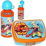 alles-meine.de GmbH 2 TLG. Set _ Lunchbox / Brotdose + Alu Trinkflasche - Feuerwehrmann Sam - inkl. Name - BPA frei - extra großes Fach - Brotbüchse Küche Essen - für Jungen - K..