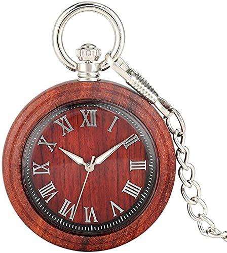 Excelente reloj colgante con punteros de luz nocturna para esposo, reloj de bolsillo clásico de cuarzo de ébano rojo para dama, esfera grande con números romanos, relojes de bolsillo para mujer