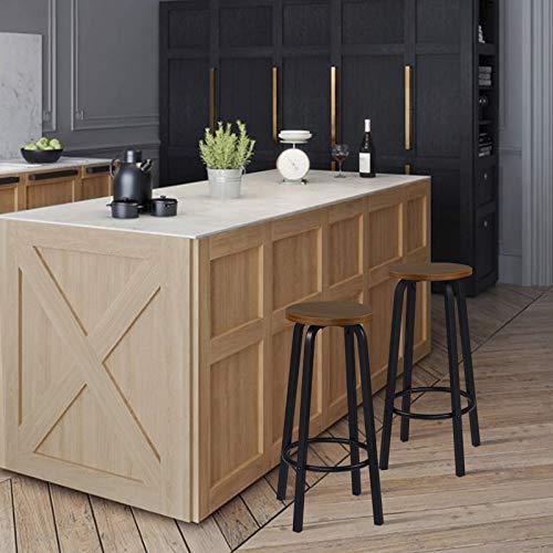 WOLTU 2X Taburete de Bar Muebles Cocina Silla de Comedor Taburete Alto para Salon Cocina Estructura de Metal, Asiento de MDF Marrón Oscuro BH237dc-2