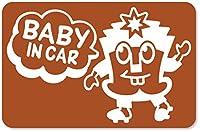 imoninn BABY in car ステッカー 【マグネットタイプ】 No.65 ハーイさん (茶色)