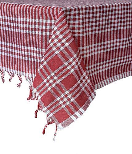 Destalya Tischdecke Picknick Tuch Baumwolle 160x160 cm (Rot 160x160 cm)