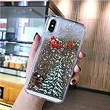 LUOKAOO Funda de teléfono Liquid Quicksand Christmas para iPhone XR X XS MAX 6 6S 7 7Plus 8 8Plus Bling Funda rígida Transparente para PC, T2, para iPhone XR