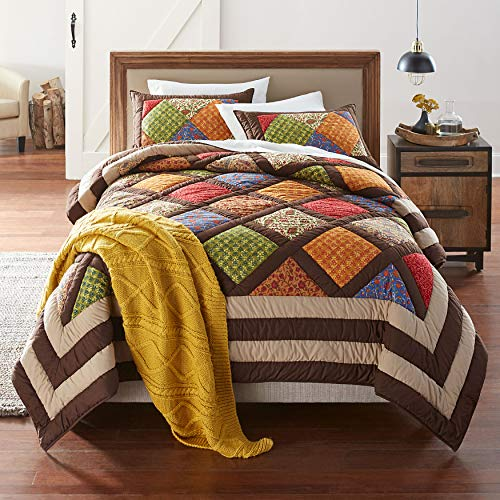 BrylaneHome Ginger Patchwork Quilt - King, Brown Gold