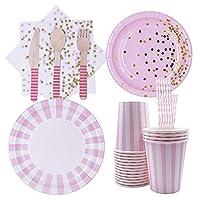 128 pezzi posate monouso in rosa, set di stoviglie usa e getta forniture per feste, per feste, matrimoni, anniversari, compleanni (16 ospiti)