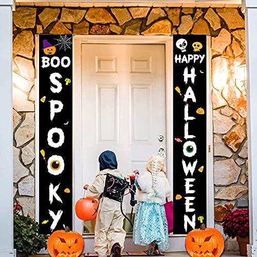 Decoraciones de Halloween Banners para exteriores, decoración colgante,letreros para exteriores para porche,puerta de entrada de Halloween,accesorios de decoración para fiestas en el jardín (2 piezas)