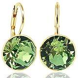 NOBEL SCHMUCK Ohrringe Gold Grün mit Kristallen von Swarovski® 925 Sterling - schlicht modern