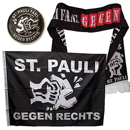 FC St. Pauli 3-teiliges Set Gegen Rechts mit Fan-Schal, Fahne (90 x 120 cm) und geprägtem Ansteck-Pin (Metall) - schwarz
