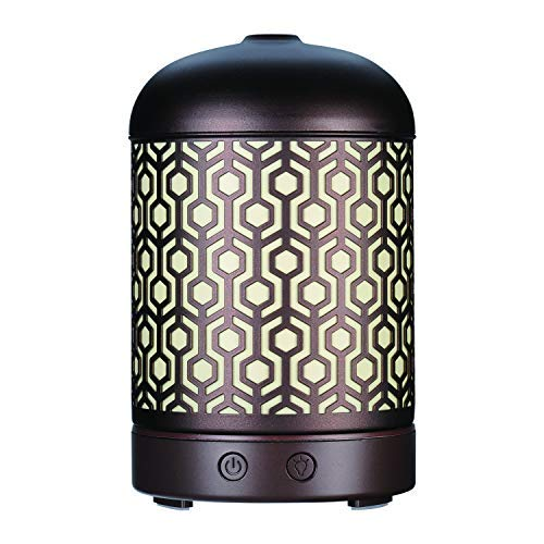 AA Bronze Lantern Metal Aroma Essential Oil Diffuser Aromatherapy Humidifier 120ml Housing with 14-Color LED