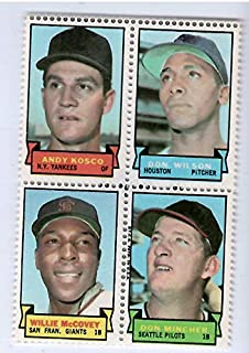 1969 Topps Baseball Stamps Andy Kosco-Don Wilson-Willie McCovey-Don Mincher 4 Stamp Panel