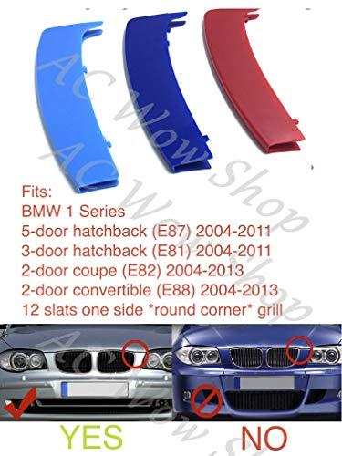 kompatibel mit B M W 1er E81 E82 E87 E88 2003-2011 12 Grills (Runde) Motorhaube Kühlergrill Streifen Abdeckung M Performance Power Sport Tech Paket Abzeichen