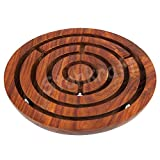"""StonKraft 6"""" Inch Handcrafted Wooden Labyrinth Board Game Ball in a Maze Puzzle"""
