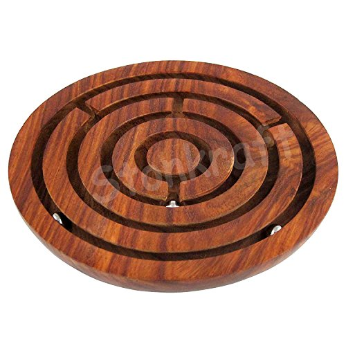 """StonKraft 6"""" Inch Handcrafted Wooden Labyrinth Board Game Ball in a Maze Puzzle Toys - Indoor Puzzle Game Gifts for Kids 