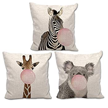Welmeco 18x18 Inch 3 Packs Throw Pillow Cover Funny Animal Giraffe Zebra Koala Chewing Bubble Gum Square Pillow Case Cushion Cover for Home Car Decorative