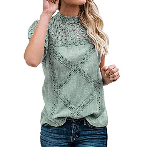 Camisa Mujer Elegante Suelta Cómoda Camisa De Lino De Verano con Detalle De Encaje Camisa De Manga Corta Camisa Retro Minimalista De Color Sólido Vacaciones Camisa De Mujer Sexy F-Green S