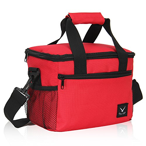 VEEVAN Recycled lunch bag Cooler Tote pranzo kit, Red, M