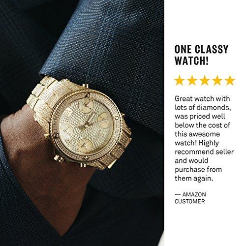 JBW Men's Jetsetter Diamond 50mm Swiss Quartz Silver-Tone Dial Watch JB-6213-A
