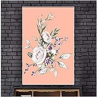 美しいピンクの花の写真やポスターをキャンバスに印刷する壁アート牡丹風景アートワークリビングルーム家の装飾50x70cmフレームレス