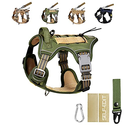 PETAGE Tactical Car Dog Harness No Pull,Reflective Military Dog Harness,for TIK ToK Service Dog Harness Including Seat Belt , Adjustable Working Pet Harness for Small Medium and Large Dogs(Green,M)