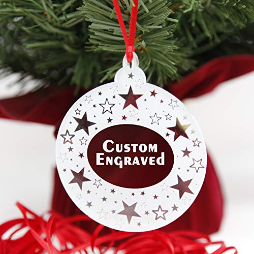 LHS Engraving | Xmas Tree Decorations Personalized Christmas Ornament | Best Ideas for Newlyweds, Babys First, Just Married | Clear Acrylic Custom Engraved Bulb Shape | Star Pattern