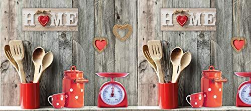 Centesimo Web Shop Tappeto Gommato 9 Misure Antiscivolo Multiuso Tappetino Passatoia Cucina Shabby Cuori Chic Pois - Rosso - 50x290 cm