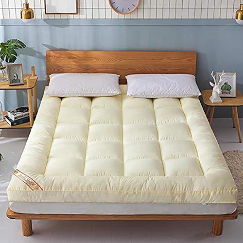 Espesar Tatami Víveres Japonés Piso Colchón Roll Up Colchón,Plegado Colchón Futon Color Sólido-Beige 150x190cm(59x75inch)