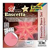 folia Juego Bascetta, papel transparente, 115 g/m², 32 hojas, diámetro de la estrella de aprox. 30 cm, incluye instrucciones para manualidades, color rosa, ca. 20 x 20 cm