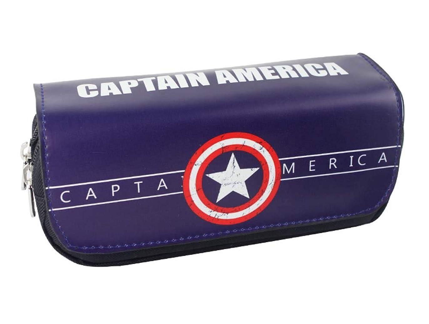 ゆでる閉塞余分なペンケース キャプテン?アメリカ 筆箱 Captain America 収納ケース 文房具 PU ペンポーチ 子供 贈り物