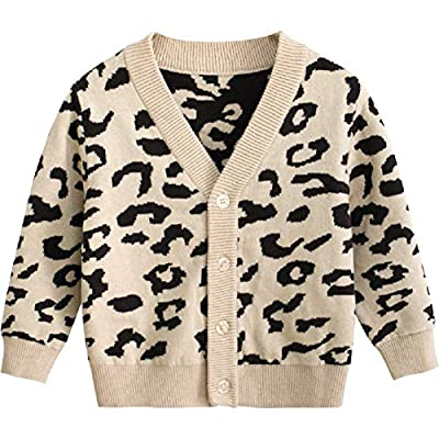Baby Boy Girl Leopard Outfits, Toddler Autumn Cardigan Button-Down Cotton Sweater Top One Piece Outfits (Leopard Cardigan, 2-3 Years)