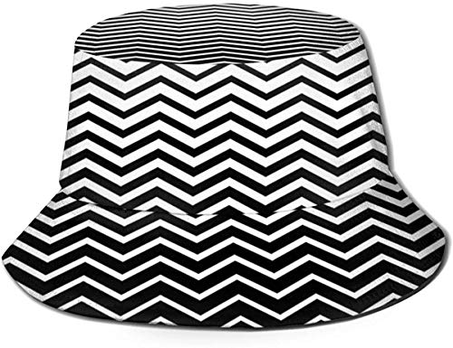 DUTRIX Sombreros de Cubo Transpirables con Parte Superior Plana Unisex Sombrero de Cubo de Olas Negras Sombrero de Pescador de Verano-Olas Negras-Talla única