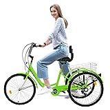 Adult Trike Three Wheel Cruiser Bike with 24-Inch Wheels, Cargo Basket Dog Bike Rear Basket 24-inch Wheels Shopping W/Installation Tools Three-Wheeled Bicycle for Men and Women