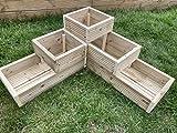 Macetero de esquina de 3 niveles para jardín, maceta de madera