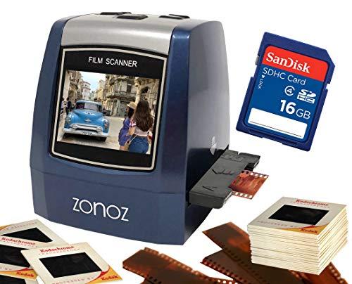 ZONOZ FS-3 22MP All-in-1 Film & Slide Converter Scanner w/16GB SD Memory Card, Speed-Load Adapters for 35mm, 126, 110 Negative & Slides, Super 8 Films - Worldwide Voltage 110V/240V AC Adapter (Blue)