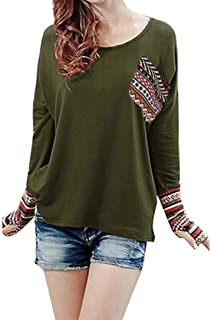 Autumn Winter Women's Blouse Patchwork Casual Loose T-Shirts Thumb Holes Tops