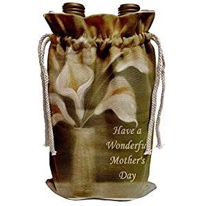 Silk Flower Arrangements 3dRose Taiche - Mothers Day - Calla Lilies - Mothers Day Wishes - calla, calla lilies, calla lily, callas, easter lily, floral, flower - Wine Bag (wbg_49396_1)