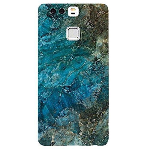 Vanki, custodia protettiva per Huawei P9, con tasti in marmo e antigraffio, in silicone TPU, trasparente, per Huawei P9 (Huawei P9, A)