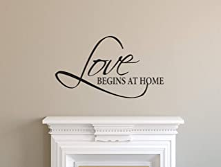 Love Begins at Home Decal, Family Wall Decal, Wall Quotes, Wall Decor, Bedroom Bathroom Decor, Family Decal, Home Decor