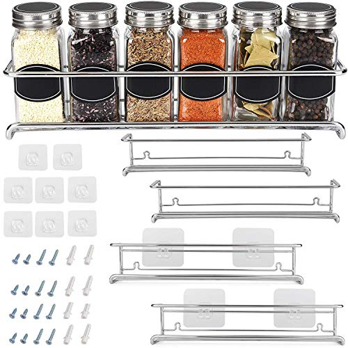 Spice Rack Organizer For Cabinet Door| Kitchen Pantry Organization And Storage | Set of 4 Chrome Tiered Hanging Shelf for Spice Jars and Seasonings | Door Mount Wall Mounted Under Sink Shelves