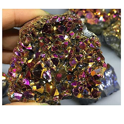 WYGOAKG 150-200g cuarzo natural electrochapado rosa y amarillo cristal racimo mineral espécimen geografía enseñanza piedras decoración del hogar