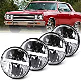 4pcs 5.75 inch Round LED Headlights Sealed Beam 45W 5-3/4' Hi Lo Beam DRL Projector Headlamp Halo Replacement 4000 4040 5506 H5006 H651 / H466 Chrome