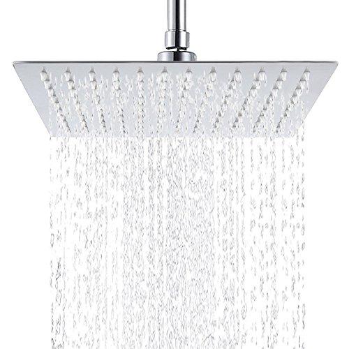 Hiendure®XXL Regendusche Duschkopf Edelstahl Regenbrause Anti-Kalk-Düsen Duschkopf Wasserfall Quadratisch Regenduschkopf 30 cm