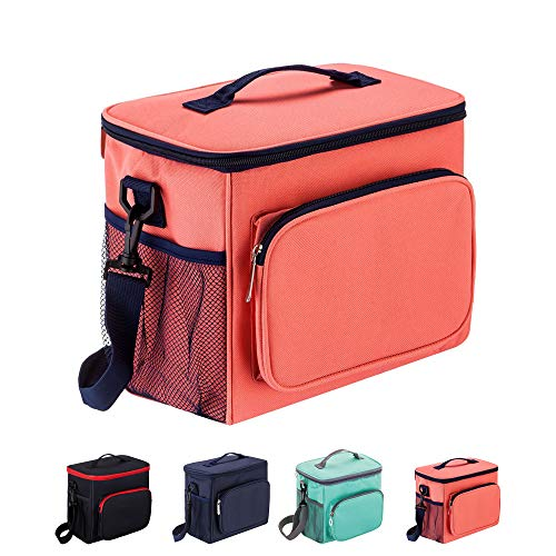 Adult Lunch Box Insulated Lunch Bag for Men & Women, Heat-resistant Cooler Tote Bags with Adjustable Shoulder Handbag(Pink)