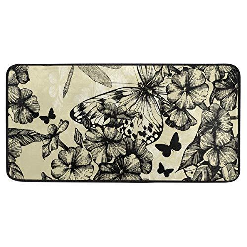 MONTOJ Teppich Blooming Phlox Schmetterlinge und Drache Fußmatten für drinnen und draußen, rutschfest, 99 x 51 cm