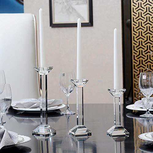 DFD Decorazione Domestica Centrotavola Cristallo Candelabro Moderno Semplice Cristallo Candleholder Candlelight Cena, 6.5X6.5X21cm