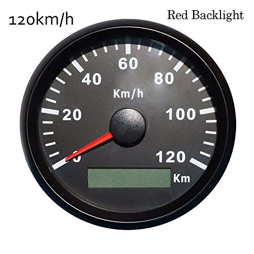 WANGXINQUAN Coche de Motor Barco GPS Velocímetro Medidores de 85 mm a Prueba de Agua de los odómetros de Velocidad Digital for A-u-d-i A3 B-M-W E60 E46 (Color : Red LED 120kmh BN, Size : Gratis)